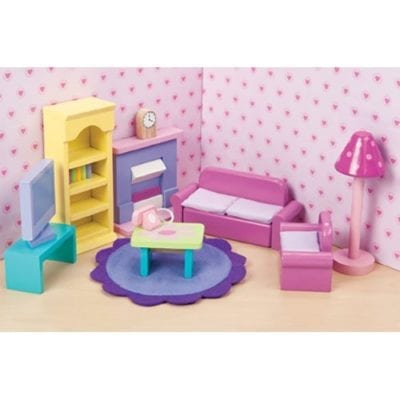 The Sugar Plum Sitting Room is vibrant and fresh in color and is scaled to fit all Le Toy Van doll houses.