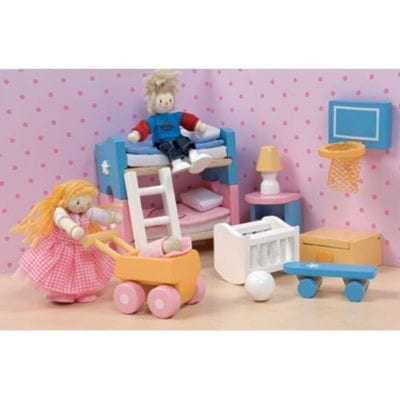 The Sugar Plum Children's Room is vibrant and is scaled to fit all of the Le Toy Van dollhouses.