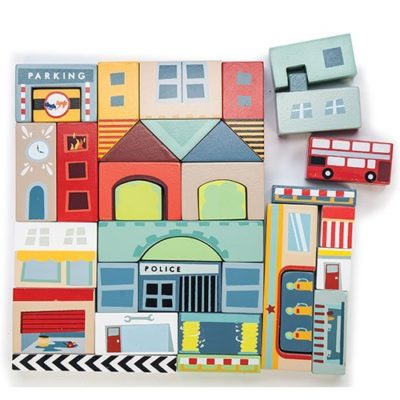 Timber Town Blocks is a set of 34 pieces beautiful painted wooden blocks with a city theme.