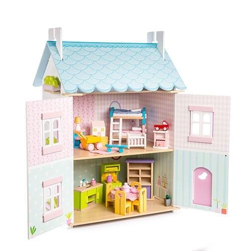 wooden Dollhouse - Blue bird cottage