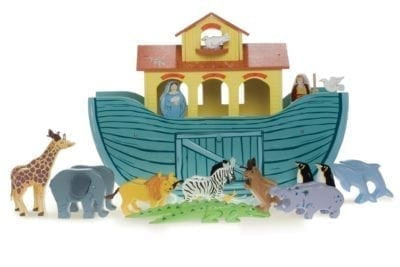 Le Toy Van wooden Great Ark with animals standing in-front of it